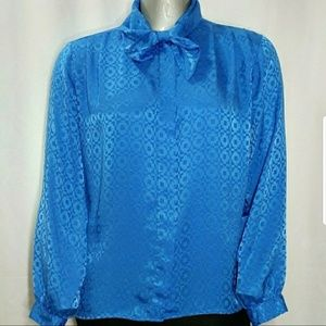 James Kenrob Pussybow Tie Neck Blouse Printed Larg